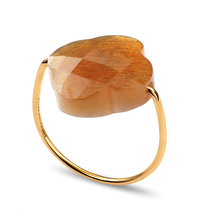 Morganne Bello Morganne Bello ring clover Sunstone stone beige gold