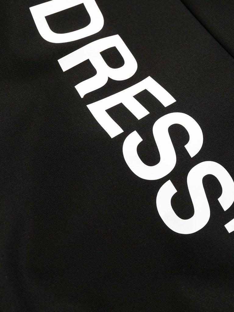 Off-White Cremefarbenes, drapiertes Kleid mit schwarzem Rollkragenpullover
