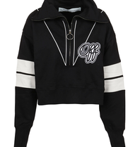 Off-White OFF-WHITE Cropped sweatshirt with logo print and zipper black
