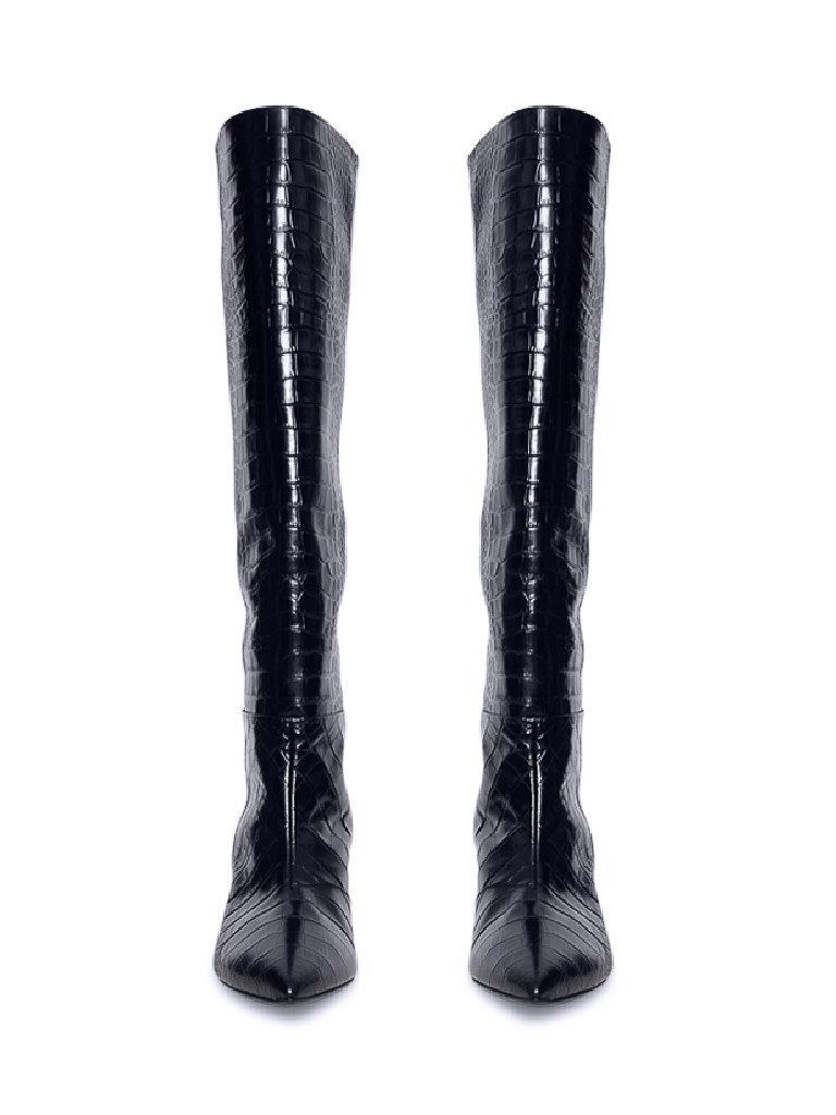 Semicouture Semicouture hoge laarzen met krokodil motief donkerblauw