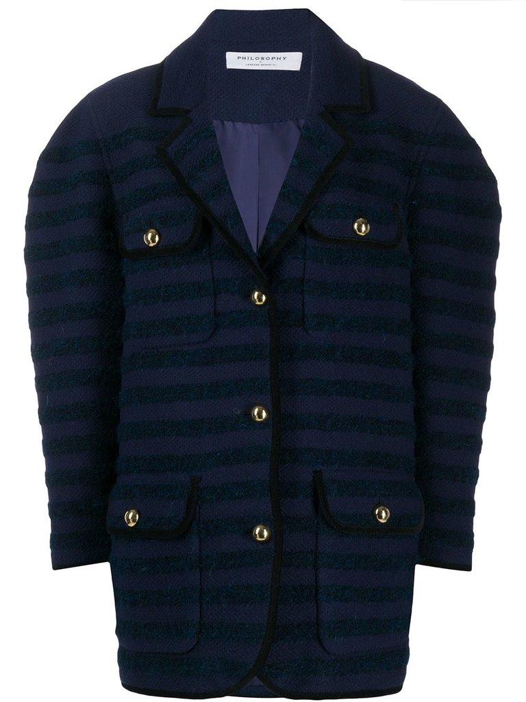 Philosophy Di Lorenzo Serafini Philosophy Di Lorenzo Serafini oversized jacket with stepen print blue