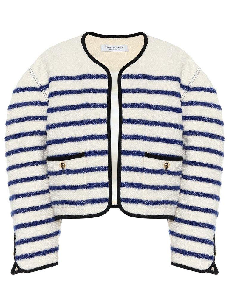 Philosophy Di Lorenzo Serafini Philosophy Di Lorenzo Serafini oversized blazer with stripes print white