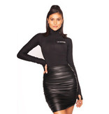 La Sisters LA Sisters leather draped mini rok zwart