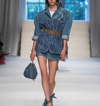 Philosophy Di Lorenzo Serafini Philosophy Di Lorenzo Serafini denim jacket with belt and blue fabric