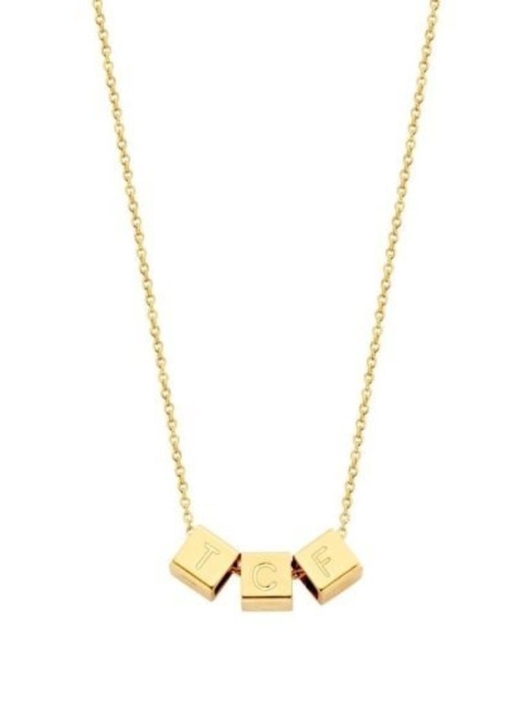 Just Franky Just Franky Cube Necklace 3 cubes geelgoud
