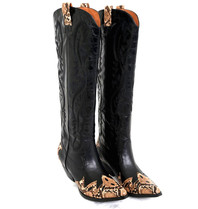 Jeffrey Campbell Calvary cowboy boots with black print