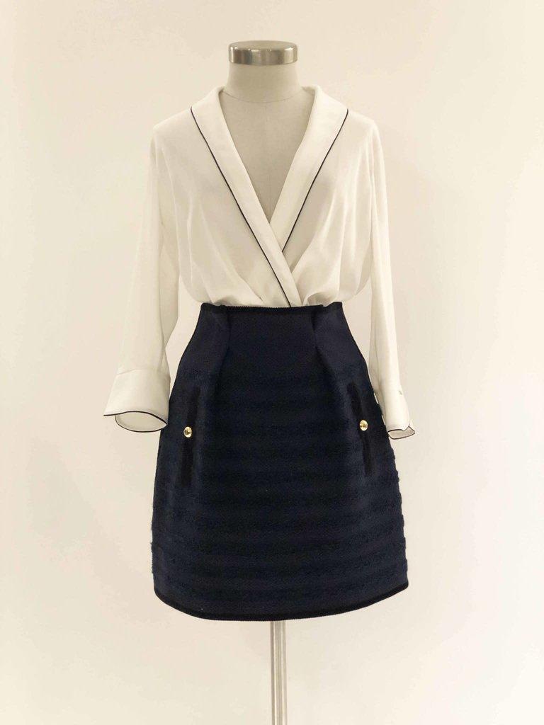 Philosophy Di Lorenzo Serafini Philosophy Di Lorenzo Serafini tweed skirt with stripe print blue