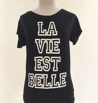 VLVT VLVT La Vie Est Belle tee wit zwart