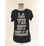 VLVT VLVT La Vie Est Belle T-Shirt weiß schwarz