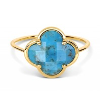Morganne Bello Morganne Bello ring met turquoise korset steen geelgoud