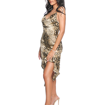 La Sisters LA Sisters snake draped dress beige