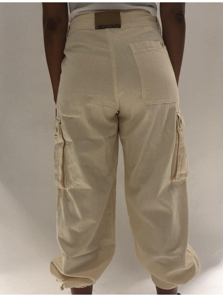 Semicouture Semicouture loose-fitting cargo jeans cream
