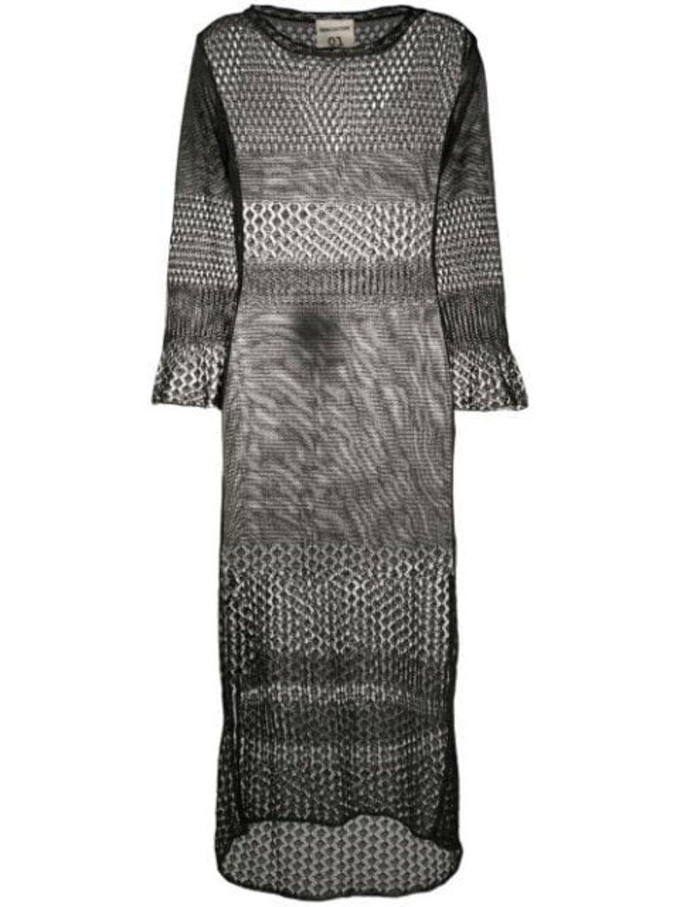 Semicouture Semicouture mesh midi jurk met split zwart