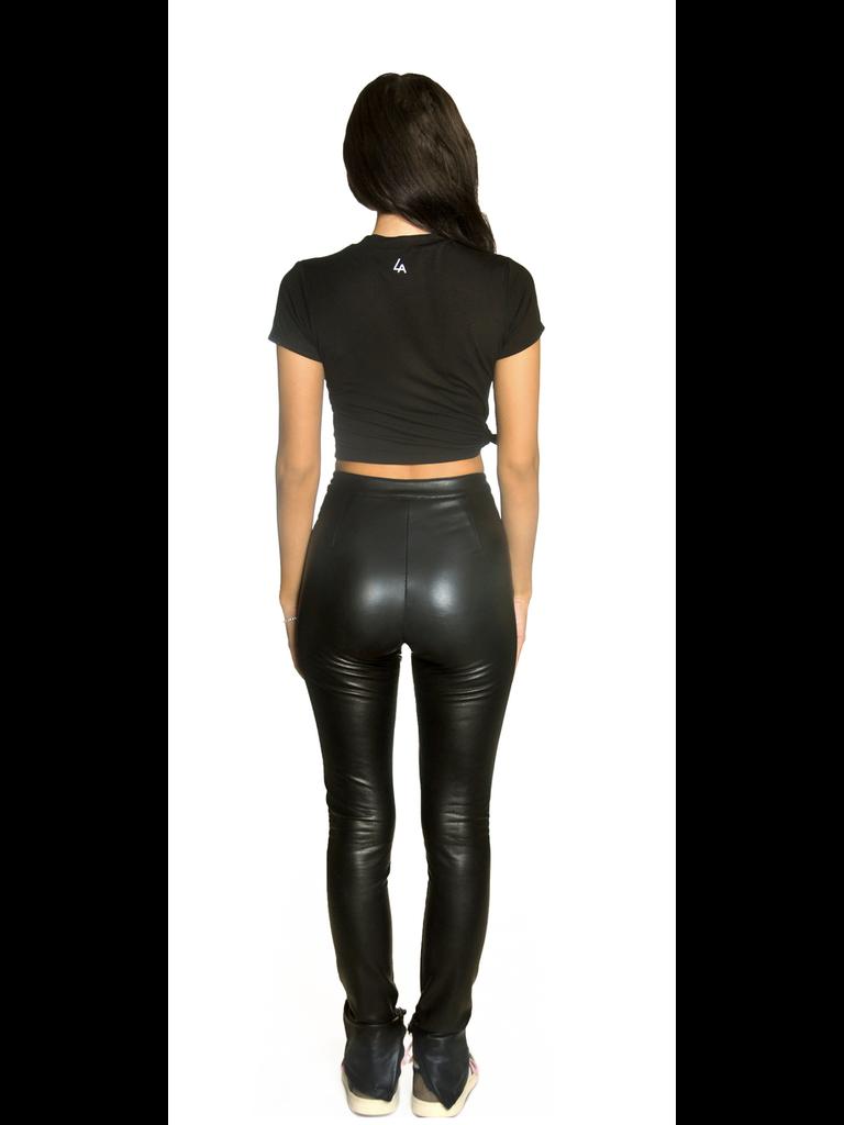 La Sisters LA Sisters Faux leather split legging zwart