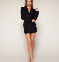 Luscious The Label Luscious The Label Kourtney mesh corset blazer dress black