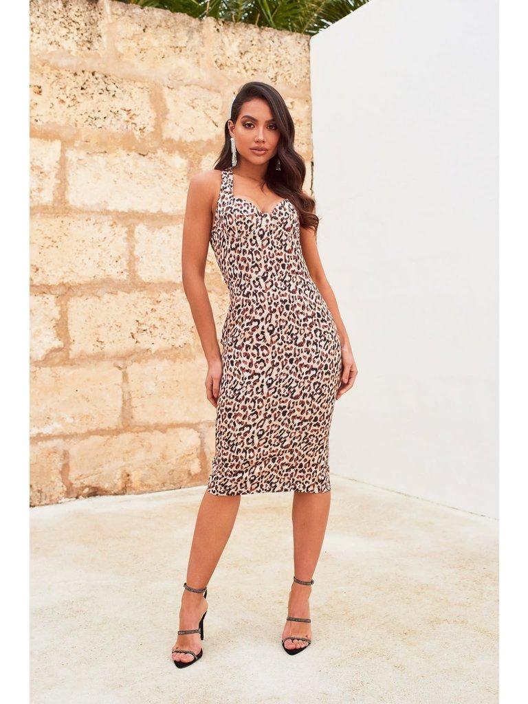 Lavish Alice Lavish Alice Satin midi jurk met luipaardprint