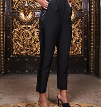 Lavish Alice Lavish Alice Ruby Holley pantalon met satijnen bies zwart