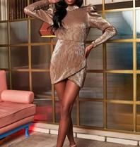 Lavish Alice Lavish Alice Rosie Connolly sequin jurk met pofmouwen goud