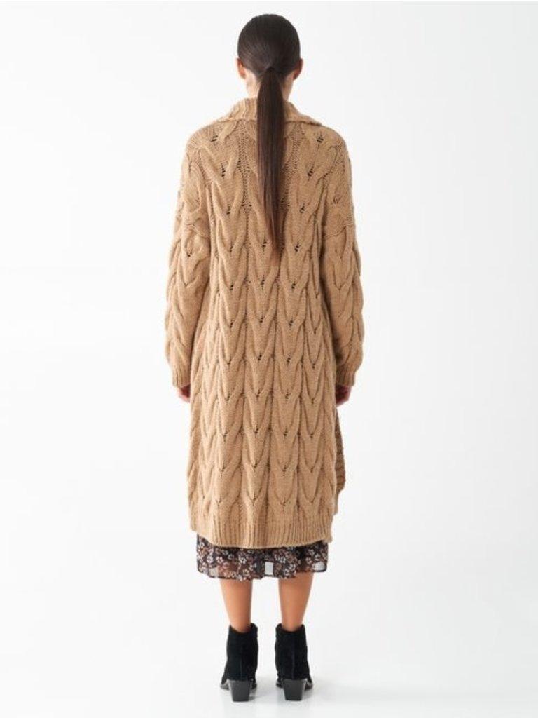 Rinascimento Rinascimento lang gebreid vest camel