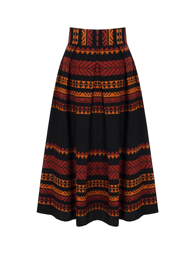 Rinascimento Rinascimento midi skirt with atzec print black orange