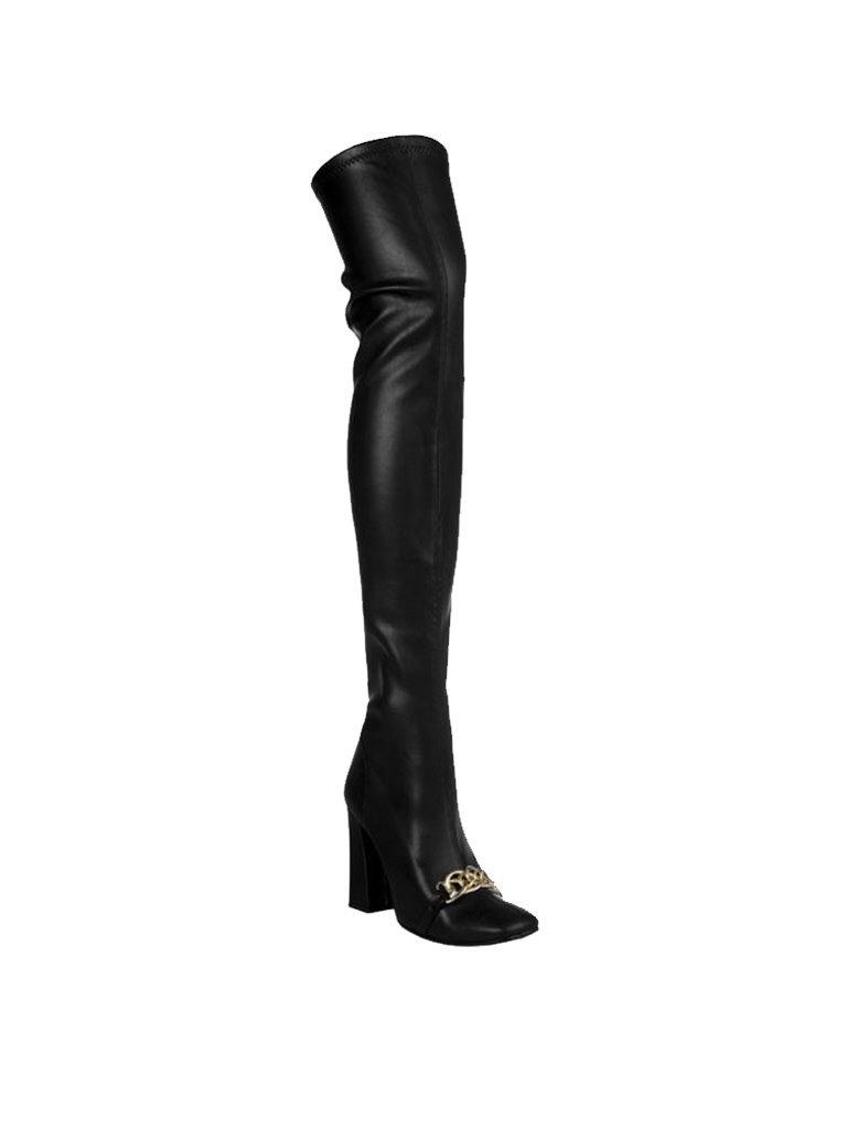 Rinascimento Rinascimento overknee laarzen met chain zwart