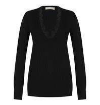 Rinascimento Rinascimento V-neck sweater with lace detail in black