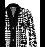 Rinascimento Rinascimento vest met pied de poule print en gouden knopen zwart