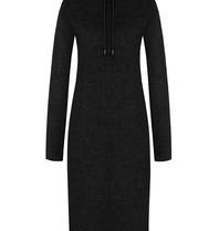 Rinascimento Rinascimento faux fur midi jurk met capuchon zwart