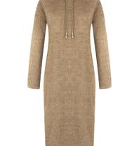 Rinascimento Rinascimento faux fur midi jurk met capuchon beige