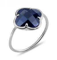 Morganne Bello Morganne Bello ring met Pietersite klaver steen witgoud