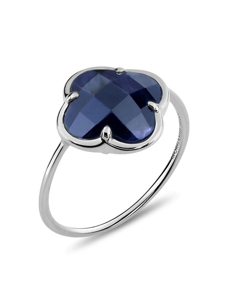Morganne Bello Morganne Bello ring with Pietersite clover stone white gold