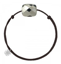 Morganne Bello Morganne Bello koord armband pyriet steen overszied donkerbruin