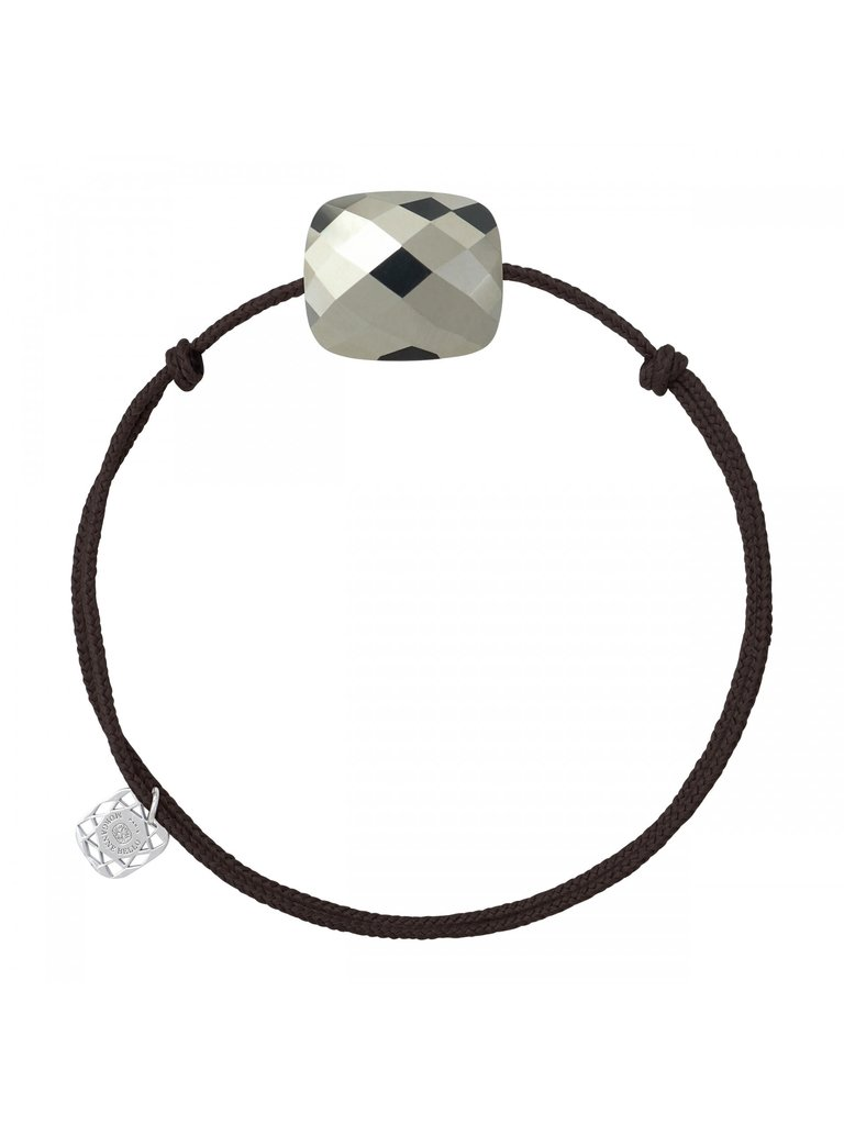 Morganne Bello Morganne Bello Kussen koord armband pyriet donkerbruin  oversized