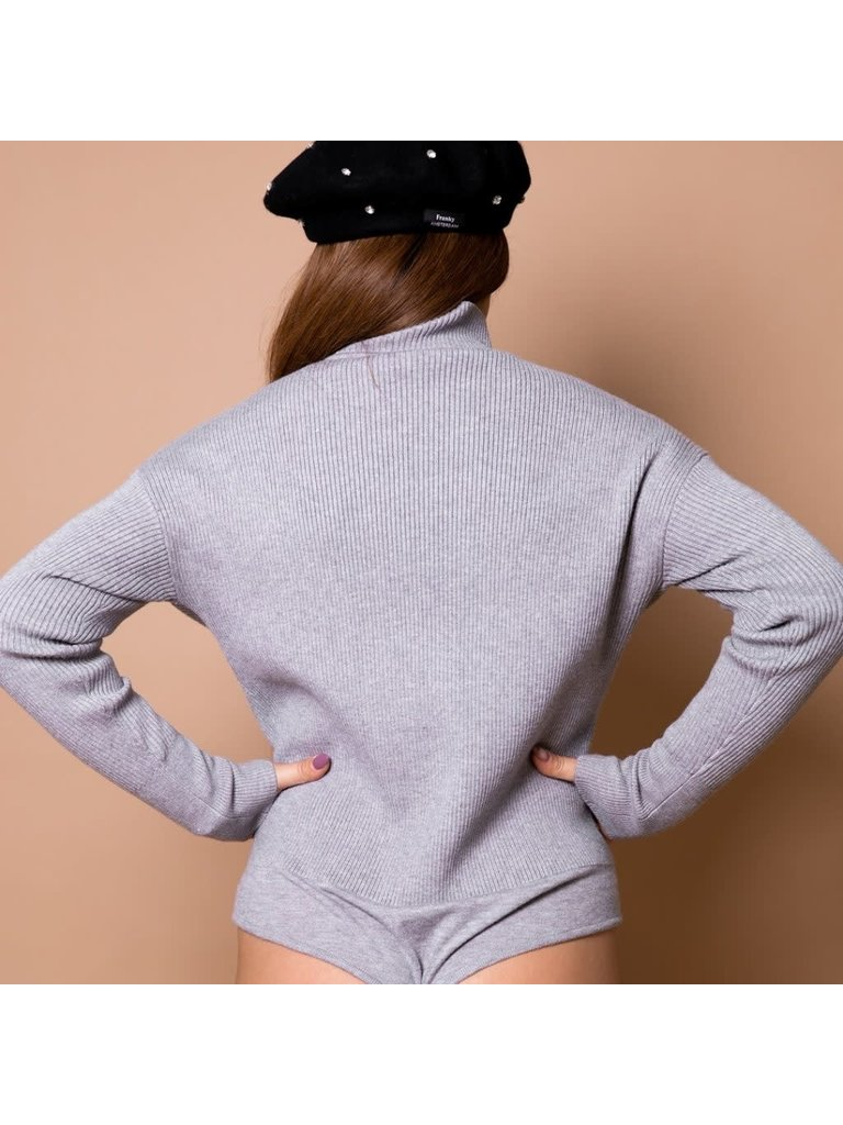 Body by Olcay Body by Olcay knitted turtleneck body light grey melange
