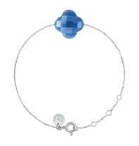 Morganne Bello Morganne Bello Klaver armband blauw witgoud