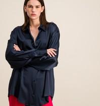 DMN Paris DMN Paris Chloe zijde blouse donkerblauw