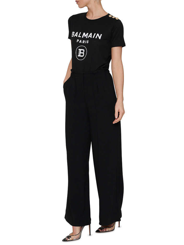 Balmain Balmain T-shirt met velvet logo zwart goud