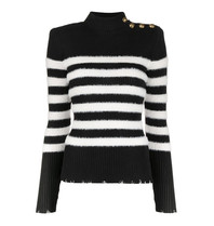 Balmain Balmain striped sweater with gold colored buttons black and white