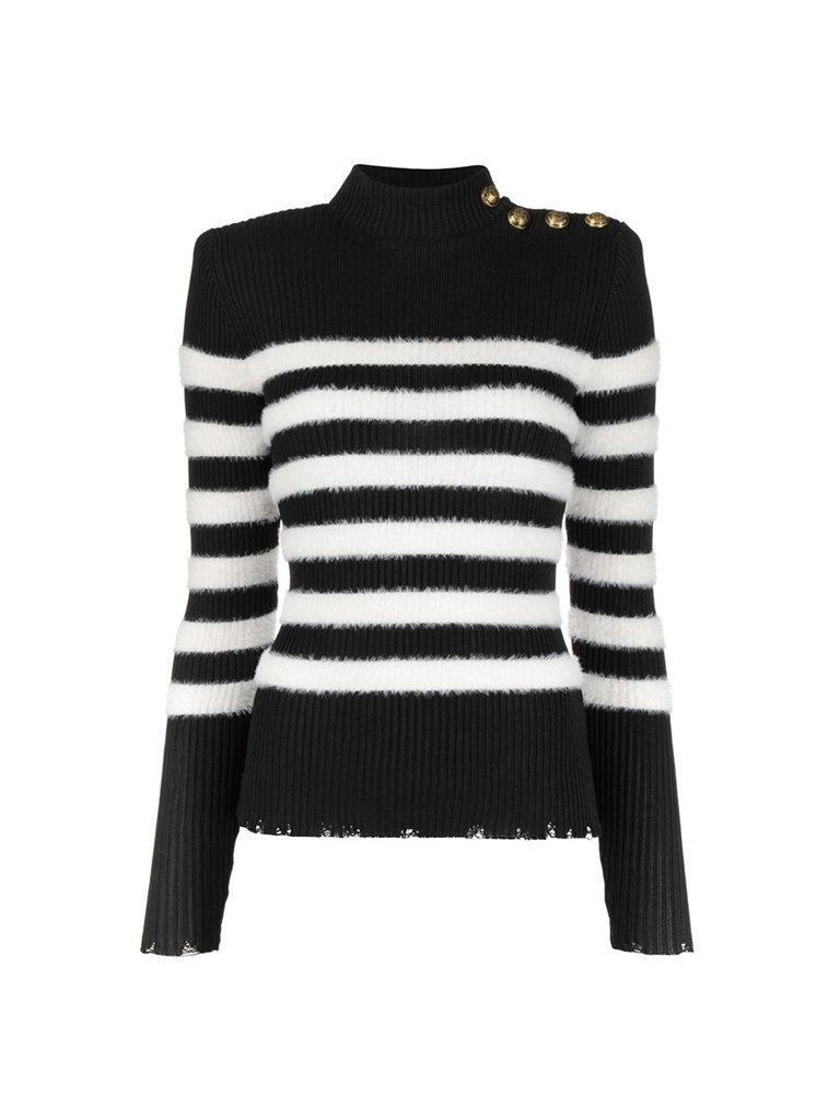 Balmain Balmain gestreifter Pullover mit goldfarbenen Knöpfen schwarz und weiß