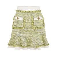 Elisabetta Franchi Elisabetta Franchi tweed rok met details groen