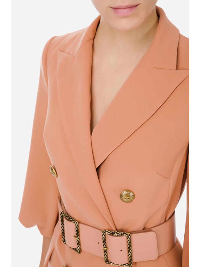 Elisabetta Franchi Elisabetta Franchi double-breasted jurk met ceintuur roze