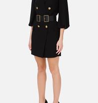 Elisabetta Franchi Elisabetta Franchi double-breasted blazer jurk met ceintuur zwart