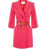 Elisabetta Franchi Elisabetta Franchi double-breasted blazer jurk met ceintuur neon roze