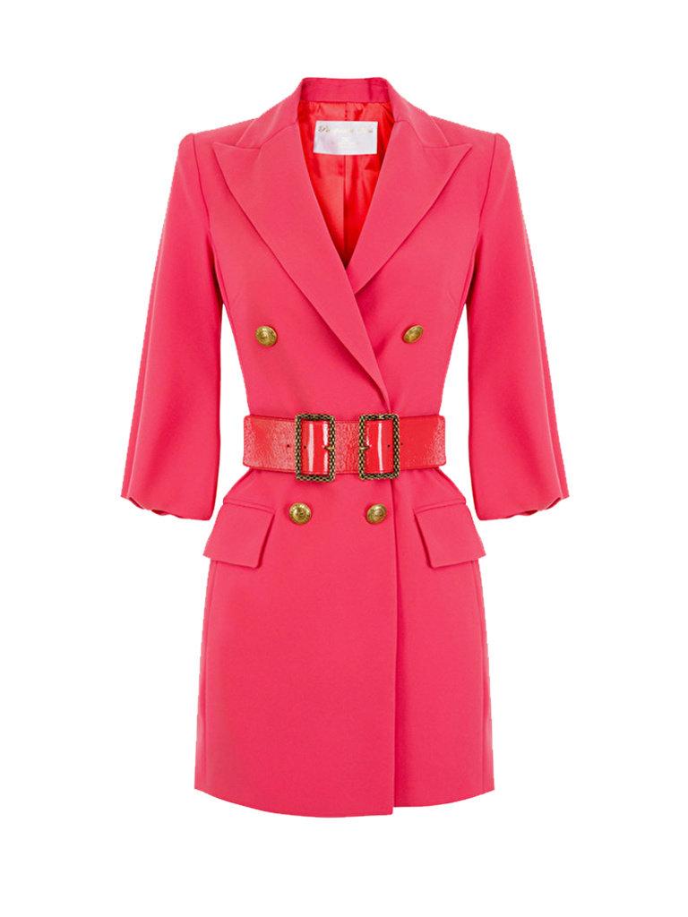 Elisabetta Franchi Elisabetta Franchi blazerjurk met ceintuur neon roze