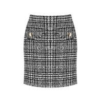 Rinascimento Rinascimento rok met knopen tweed print zwart