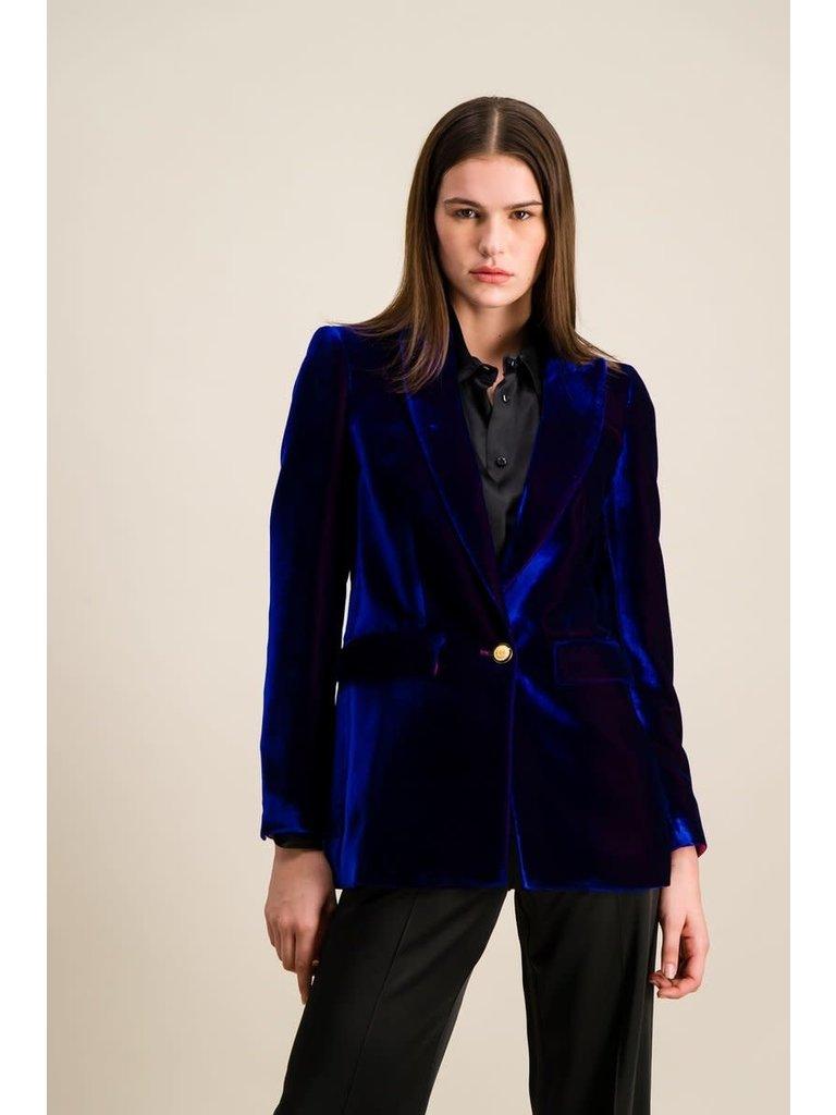 DMN Paris DMN Paris Barry2 velours blazer blauw violet
