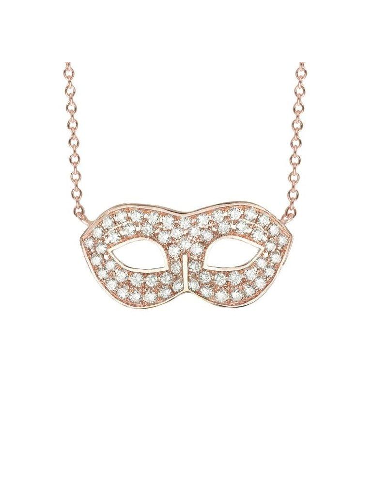 VANESSA TUGENDHAFT Vanessa Tugendhaft mask ketting met diamanten roségoud