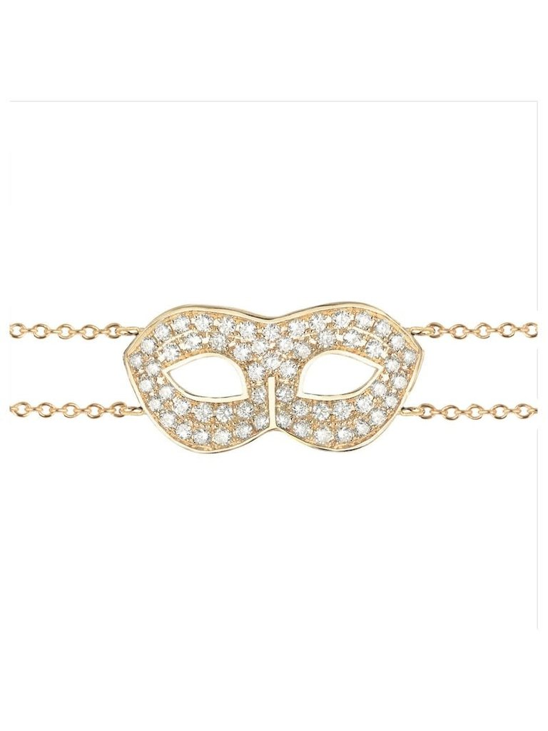 VANESSA TUGENDHAFT Vanessa Tugendhaft mask armband met diamanten geelgoud