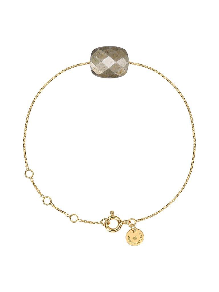 Morganne Bello Morganne Bello geelgouden armband met pyriet steen