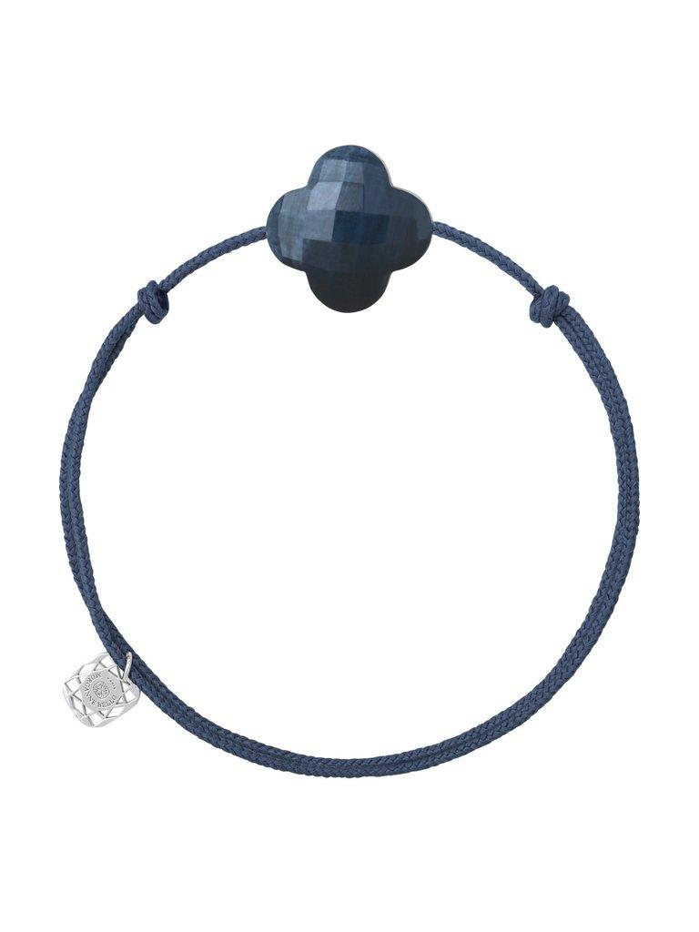 Morganne Bello Morganne Bello koord armband met pietersite klaversteen donkerblauw